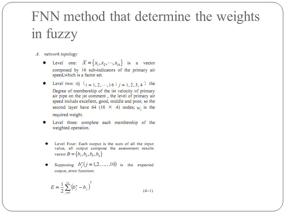 FNN method that determine the weights in fuzzy