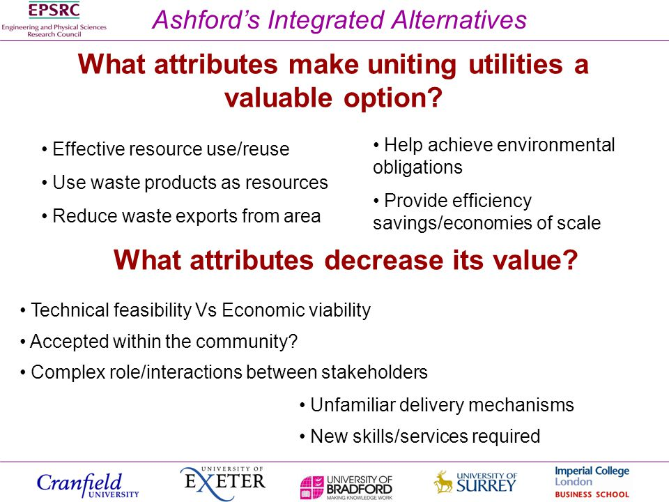 Ashfords Integrated Alternatives What attributes make uniting utilities a valuable option.