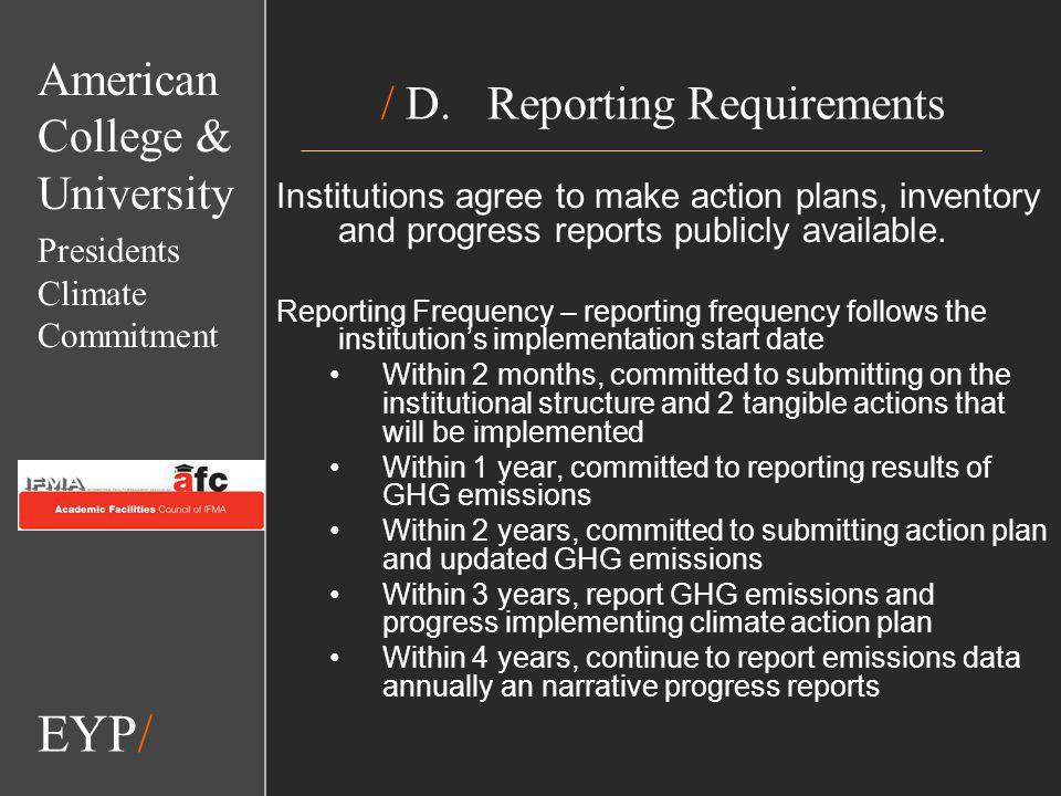 EYP/ / D.Reporting Requirements Institutions agree to make action plans, inventory and progress reports publicly available.