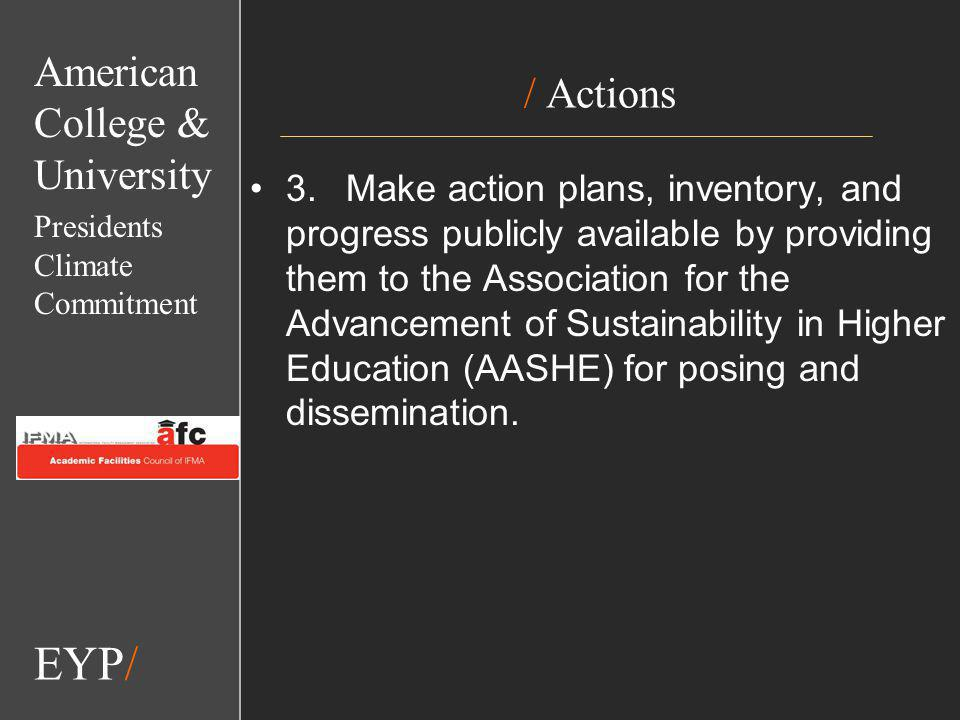 EYP/ / Actions 3.Make action plans, inventory, and progress publicly available by providing them to the Association for the Advancement of Sustainability in Higher Education (AASHE) for posing and dissemination.