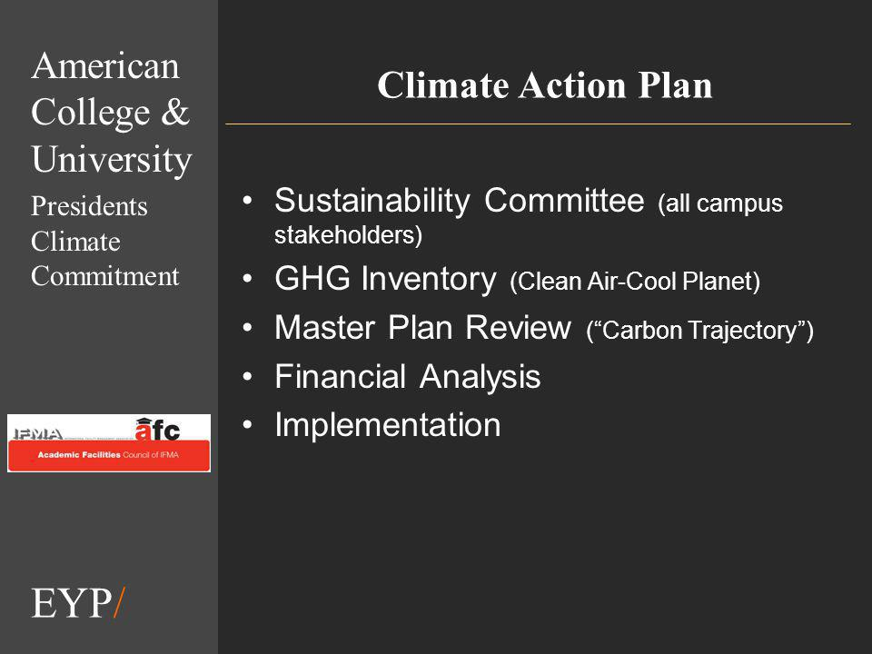 EYP/ Climate Action Plan Sustainability Committee (all campus stakeholders) GHG Inventory (Clean Air-Cool Planet) Master Plan Review (Carbon Trajectory) Financial Analysis Implementation American College & University Presidents Climate Commitment