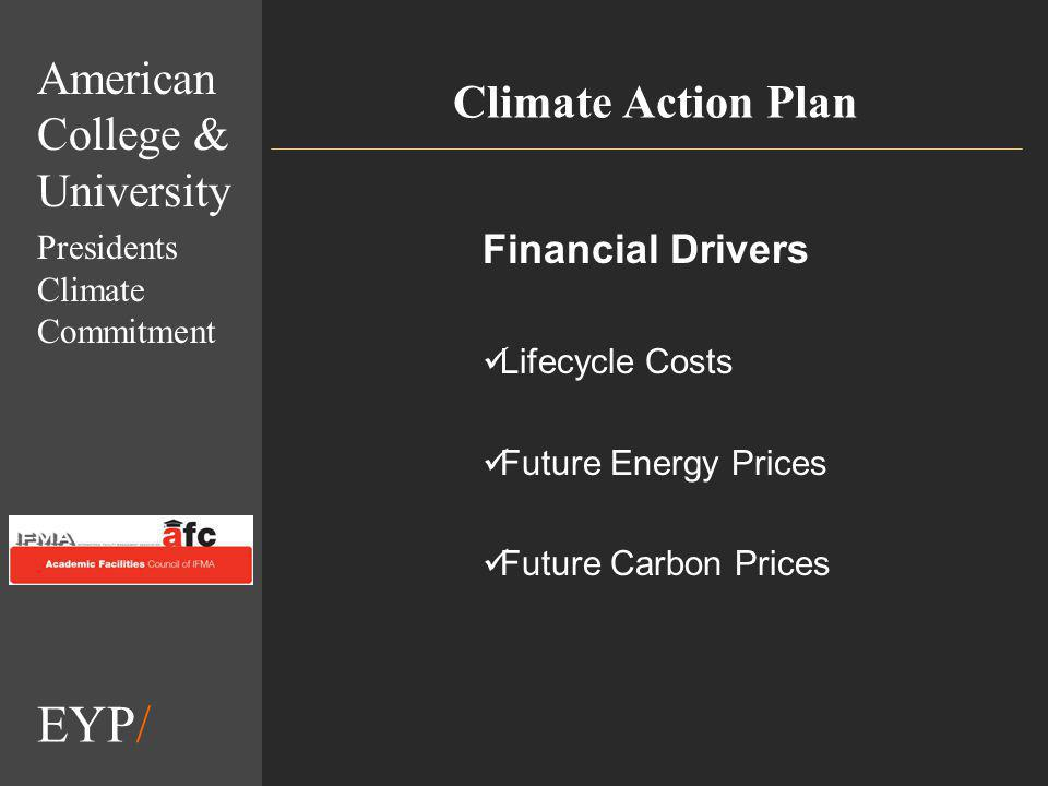 EYP/ Climate Action Plan Financial Drivers Lifecycle Costs Future Energy Prices Future Carbon Prices American College & University Presidents Climate Commitment