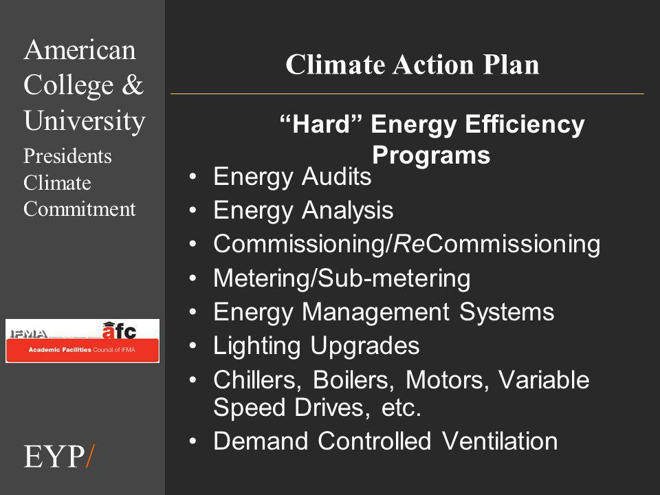 EYP/ Climate Action Plan Energy Audits Energy Analysis Commissioning/ReCommissioning Metering/Sub-metering Energy Management Systems Lighting Upgrades Chillers, Boilers, Motors, Variable Speed Drives, etc.