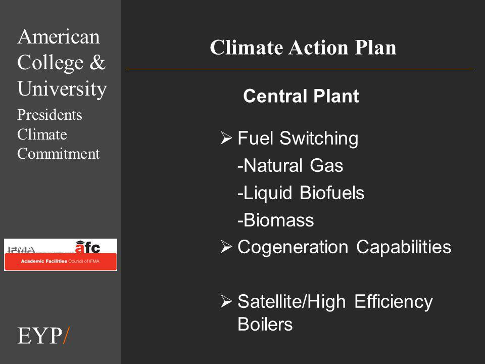 EYP/ Climate Action Plan Fuel Switching -Natural Gas -Liquid Biofuels -Biomass Cogeneration Capabilities Satellite/High Efficiency Boilers Central Plant American College & University Presidents Climate Commitment