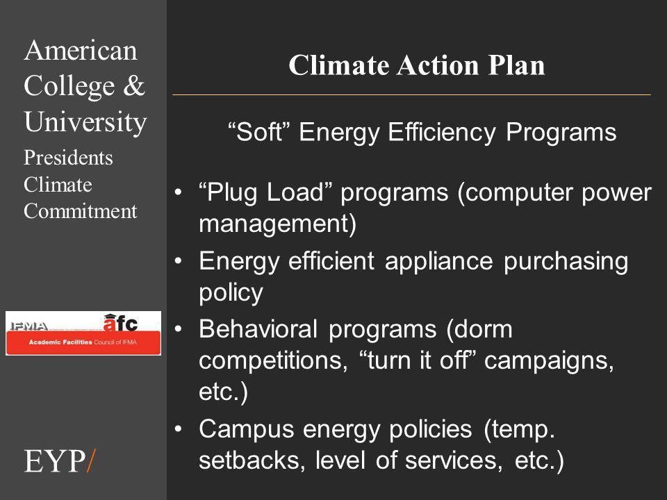 EYP/ Climate Action Plan Plug Load programs (computer power management) Energy efficient appliance purchasing policy Behavioral programs (dorm competitions, turn it off campaigns, etc.) Campus energy policies (temp.