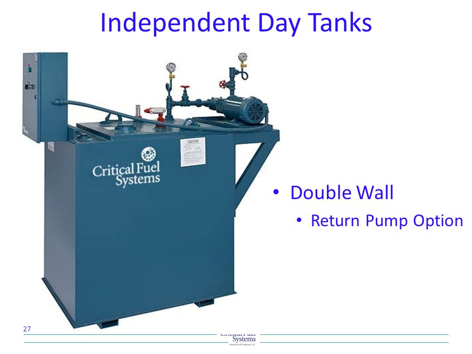 Independent Day Tanks Double Wall Return Pump Option 27