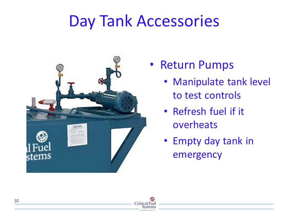 Day Tank Accessories Return Pumps Manipulate tank level to test controls Refresh fuel if it overheats Empty day tank in emergency 30