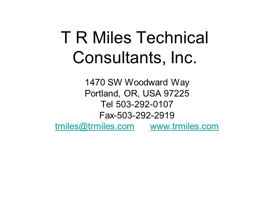 T R Miles Technical Consultants, Inc.