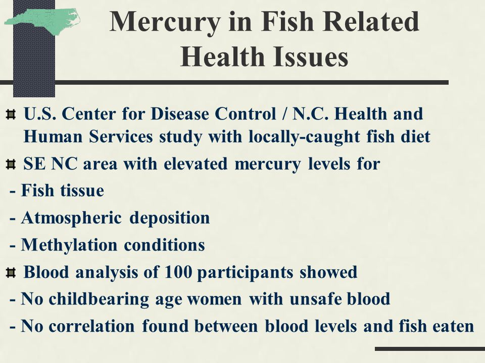 Mercury in Fish Related Health Issues U.S. Center for Disease Control / N.C.
