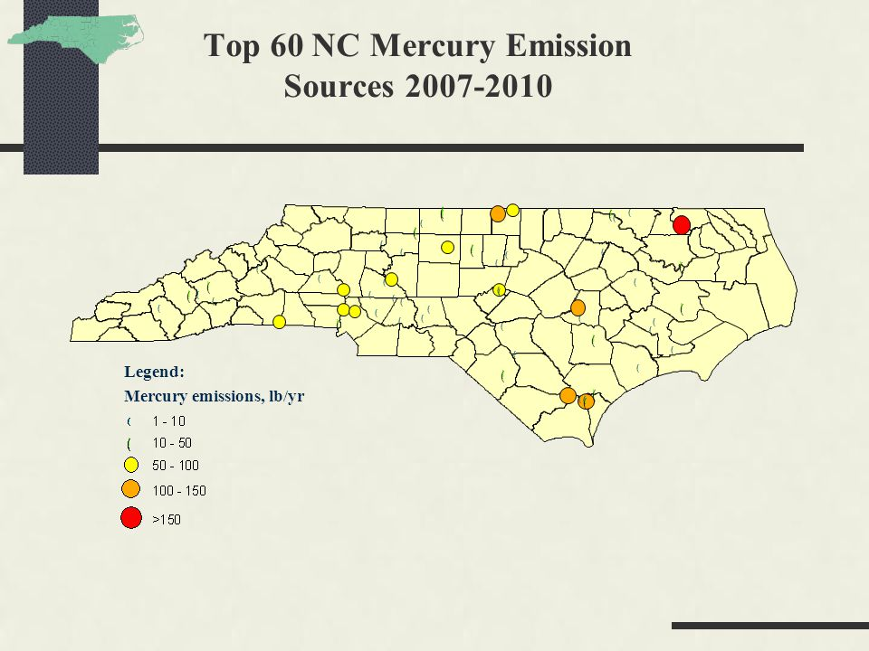 Top 60 NC Mercury Emission Sources 2007-2010 Legend: Mercury emissions, lb/yr