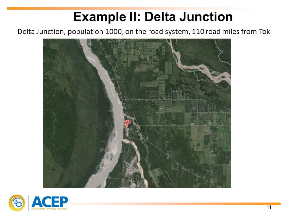 Delta Junction, population 1000, on the road system, 110 road miles from Tok Example II: Delta Junction 11
