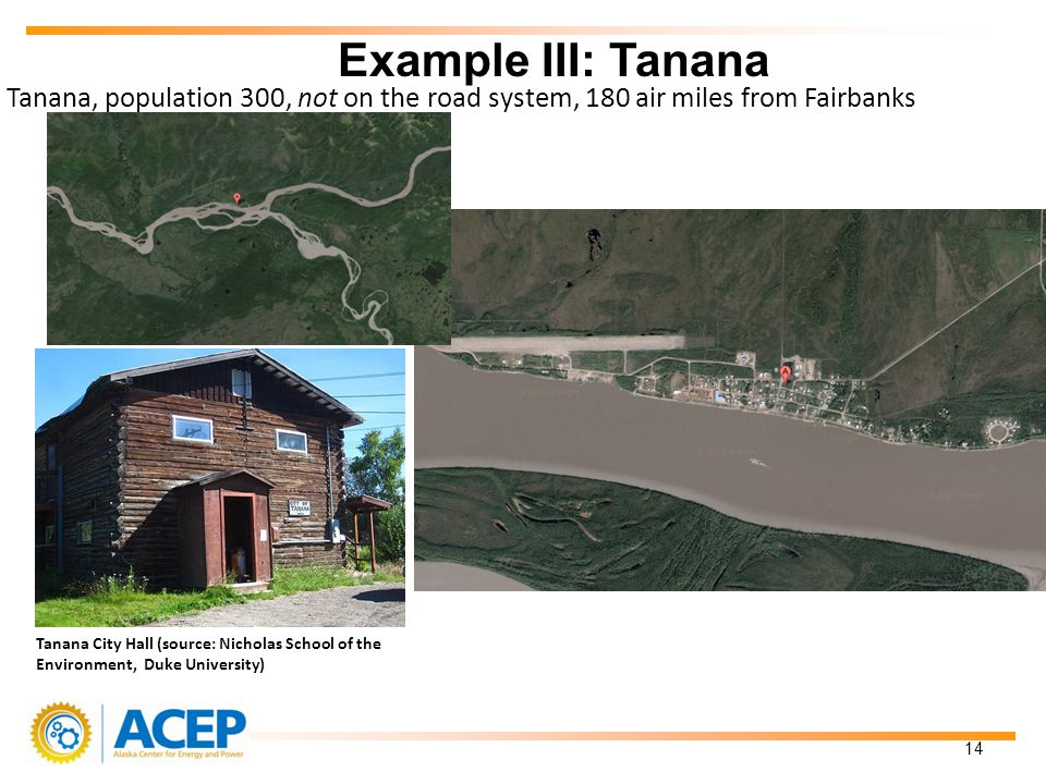Tanana, population 300, not on the road system, 180 air miles from Fairbanks Example III: Tanana 14 Tanana City Hall (source: Nicholas School of the Environment, Duke University)