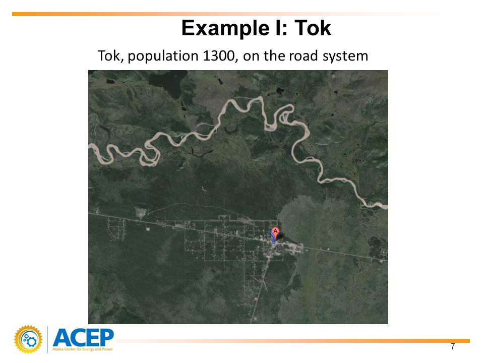 Tok, population 1300, on the road system Example I: Tok 7
