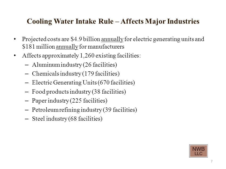Cooling Water Intake Rule – Affects Major Industries Projected costs are $4.9 billion annually for electric generating units and $181 million annually for manufacturers Affects approximately 1,260 existing facilities: – Aluminum industry (26 facilities) – Chemicals industry (179 facilities) – Electric Generating Units (670 facilities) – Food products industry (38 facilities) – Paper industry (225 facilities) – Petroleum refining industry (39 facilities) – Steel industry (68 facilities) 7