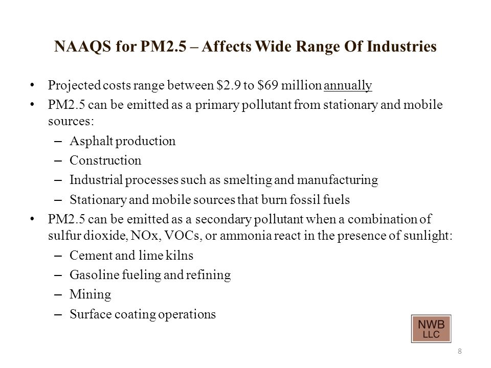 NAAQS for PM2.5 – Affects Wide Range Of Industries Projected costs range between $2.9 to $69 million annually PM2.5 can be emitted as a primary pollutant from stationary and mobile sources: – Asphalt production – Construction – Industrial processes such as smelting and manufacturing – Stationary and mobile sources that burn fossil fuels PM2.5 can be emitted as a secondary pollutant when a combination of sulfur dioxide, NOx, VOCs, or ammonia react in the presence of sunlight: – Cement and lime kilns – Gasoline fueling and refining – Mining – Surface coating operations 8