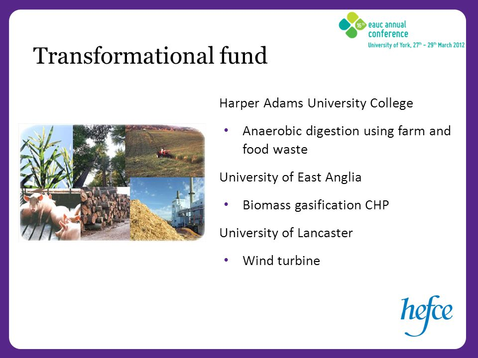 Harper Adams University College Anaerobic digestion using farm and food waste University of East Anglia Biomass gasification CHP University of Lancaster Wind turbine Transformational fund
