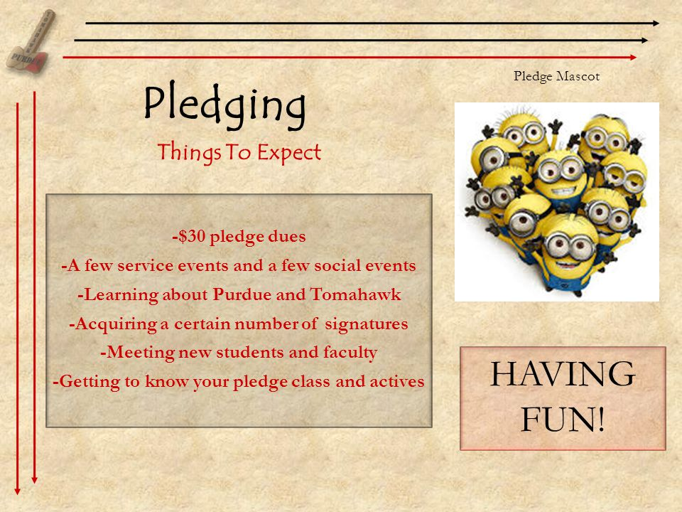 Pledging Things To Expect -$30 pledge dues -A few service events and a few social events -Learning about Purdue and Tomahawk -Acquiring a certain number of signatures -Meeting new students and faculty -Getting to know your pledge class and actives HAVING FUN.