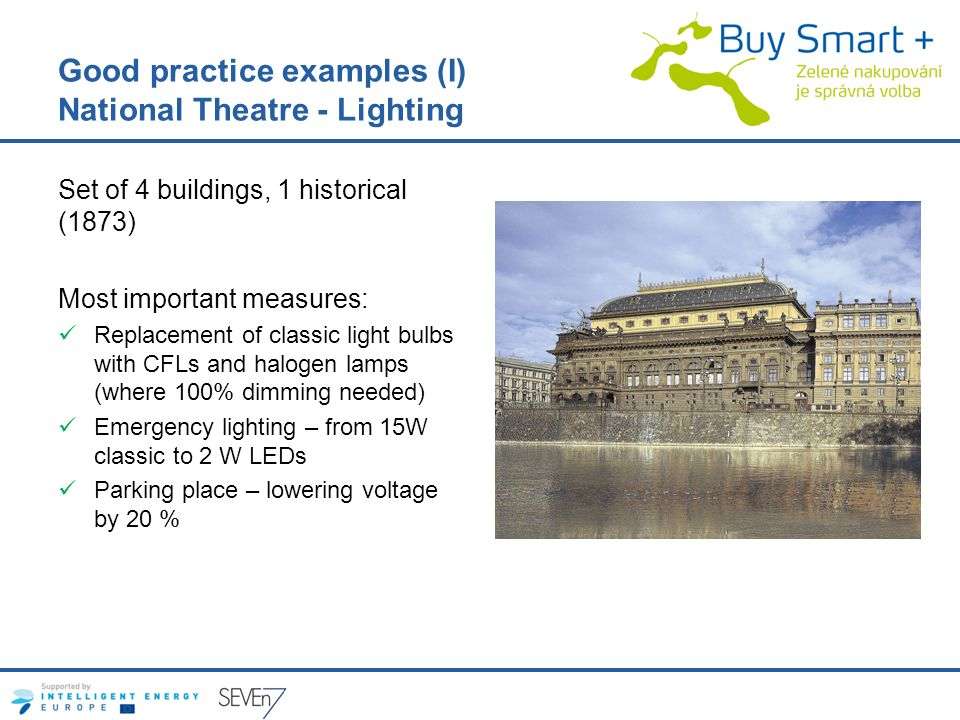 Good practice examples (I) National Theatre - Lighting Set of 4 buildings, 1 historical (1873) Most important measures: Replacement of classic light bulbs with CFLs and halogen lamps (where 100% dimming needed) Emergency lighting – from 15W classic to 2 W LEDs Parking place – lowering voltage by 20 %