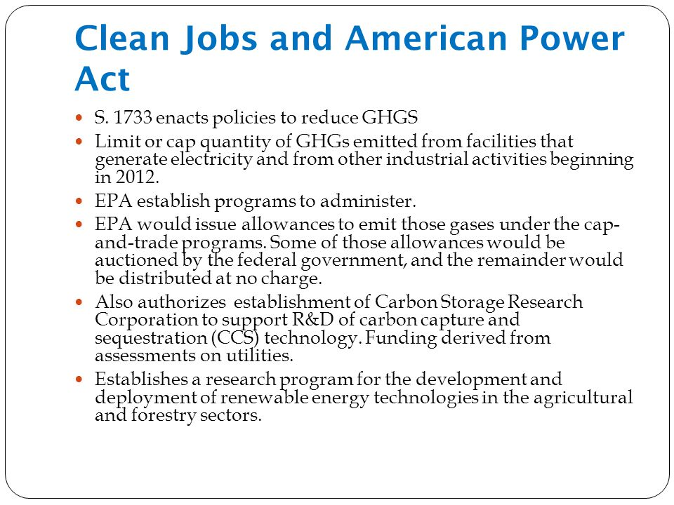 Clean Jobs and American Power Act S.
