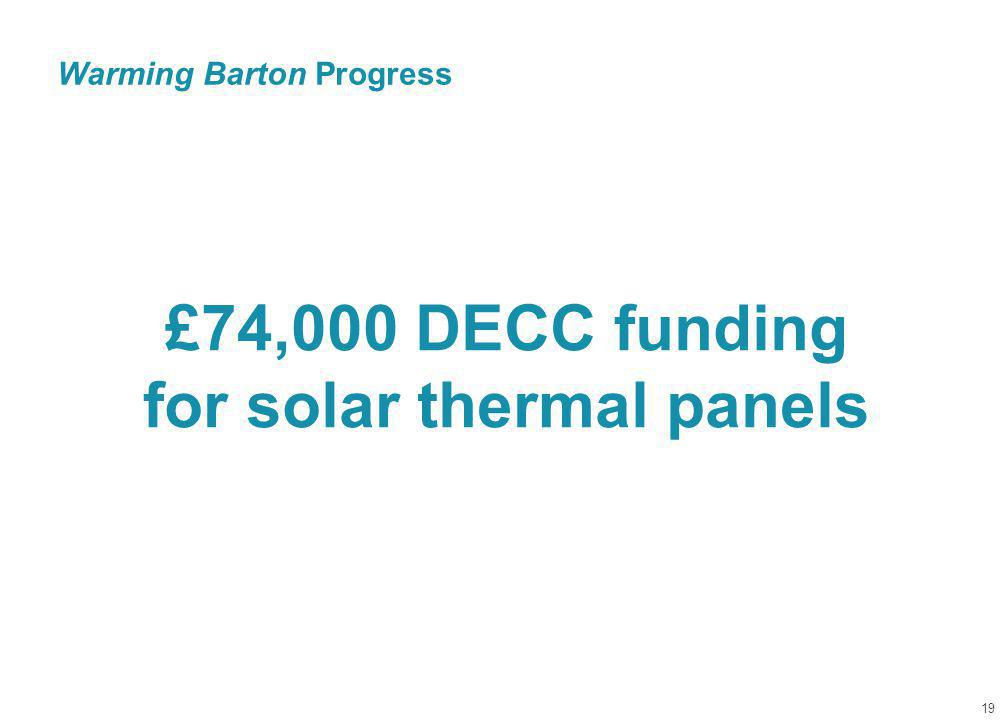 Warming Barton Progress 19 £74,000 DECC funding for solar thermal panels