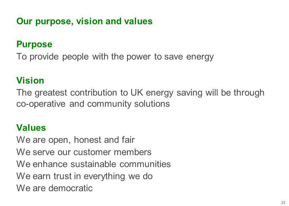 Our purpose, vision and values 25 Purpose To provide people with the power to save energy Vision The greatest contribution to UK energy saving will be through co-operative and community solutions Values We are open, honest and fair We serve our customer members We enhance sustainable communities We earn trust in everything we do We are democratic
