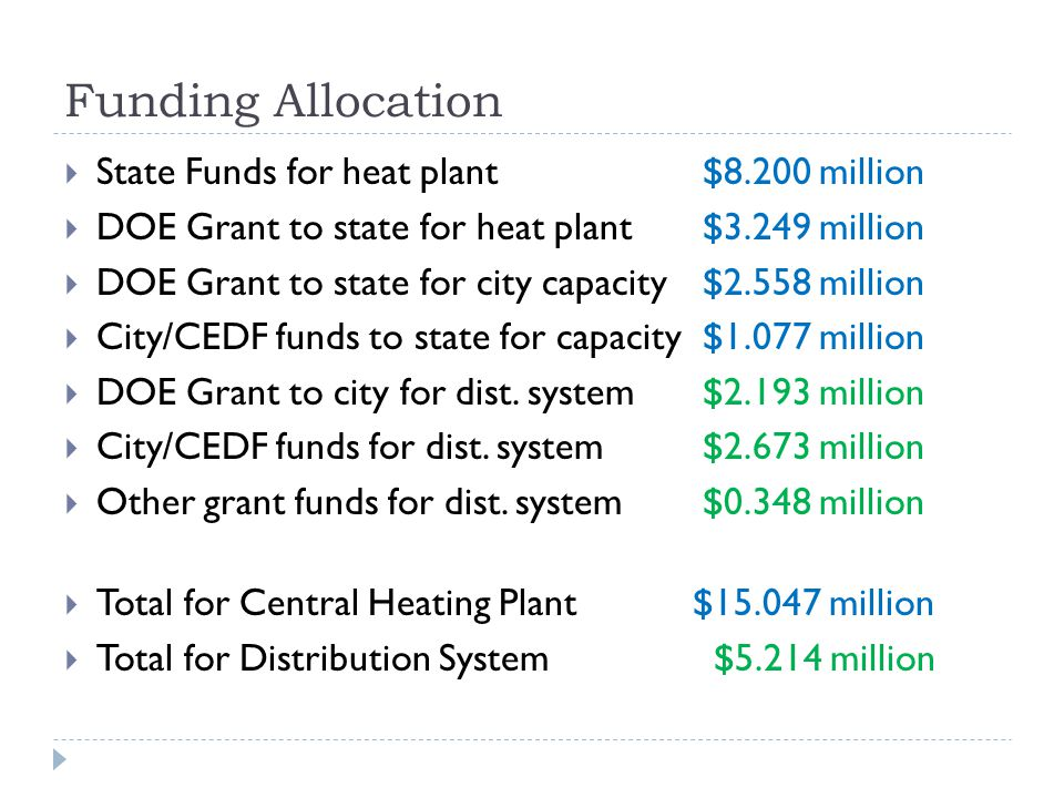 Funding Allocation State Funds for heat plant$8.200 million DOE Grant to state for heat plant$3.249 million DOE Grant to state for city capacity$2.558 million City/CEDF funds to state for capacity$1.077 million DOE Grant to city for dist.
