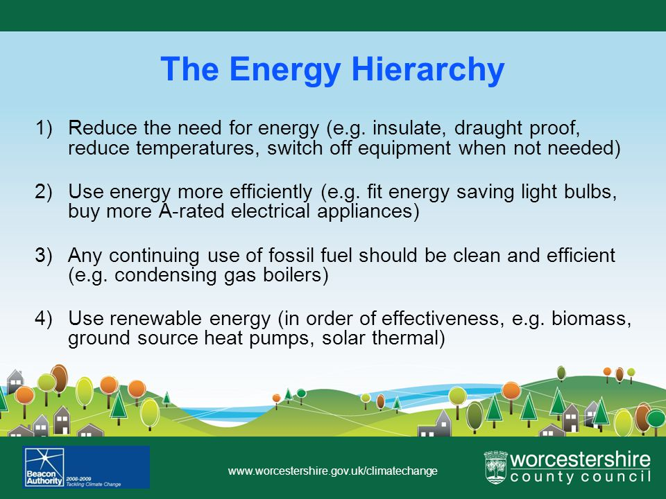 www.worcestershire.gov.uk/climatechange The Energy Hierarchy 1)Reduce the need for energy (e.g.