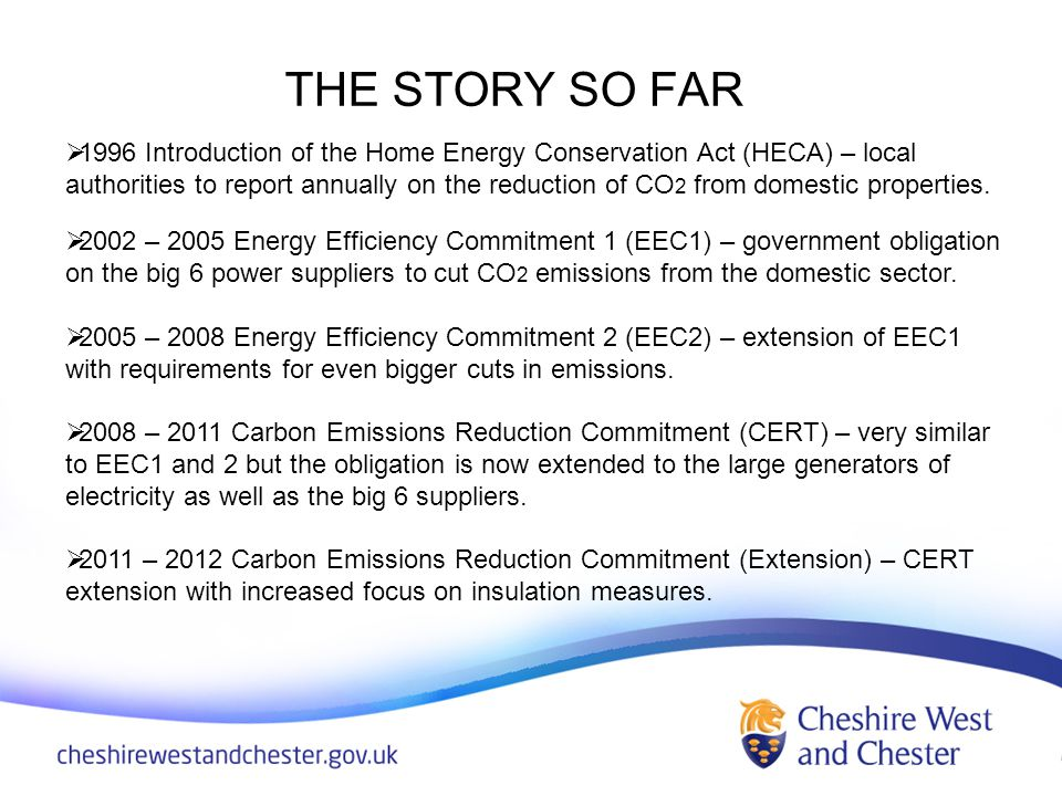 THE STORY SO FAR 1996 Introduction of the Home Energy Conservation Act (HECA) – local authorities to report annually on the reduction of CO 2 from domestic properties.