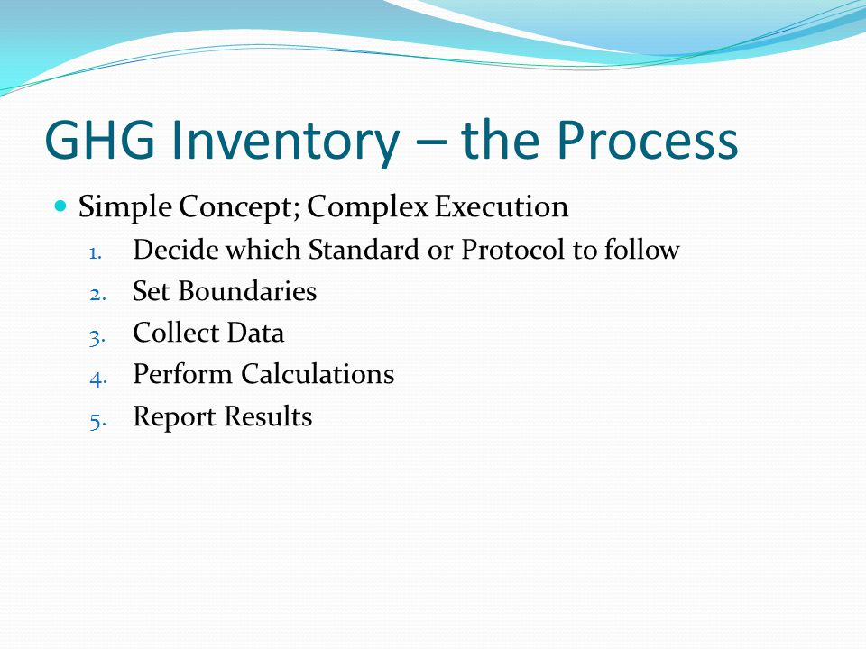 GHG Inventory – the Process Simple Concept; Complex Execution 1.