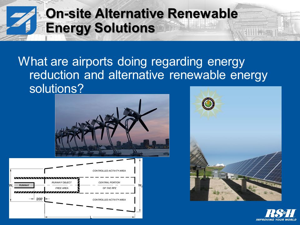 What are airports doing regarding energy reduction and alternative renewable energy solutions.
