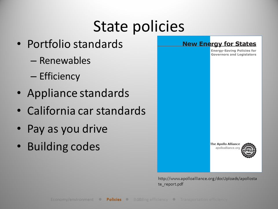 10 State policies Portfolio standards – Renewables – Efficiency Appliance standards California car standards Pay as you drive Building codes http://www.apolloalliance.org/docUploads/apollosta te_report.pdf Economy/environment Policies Building efficiency Transportation efficiency