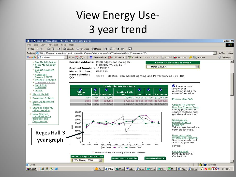 View Energy Use- 3 year trend Reges Hall-3 year graph