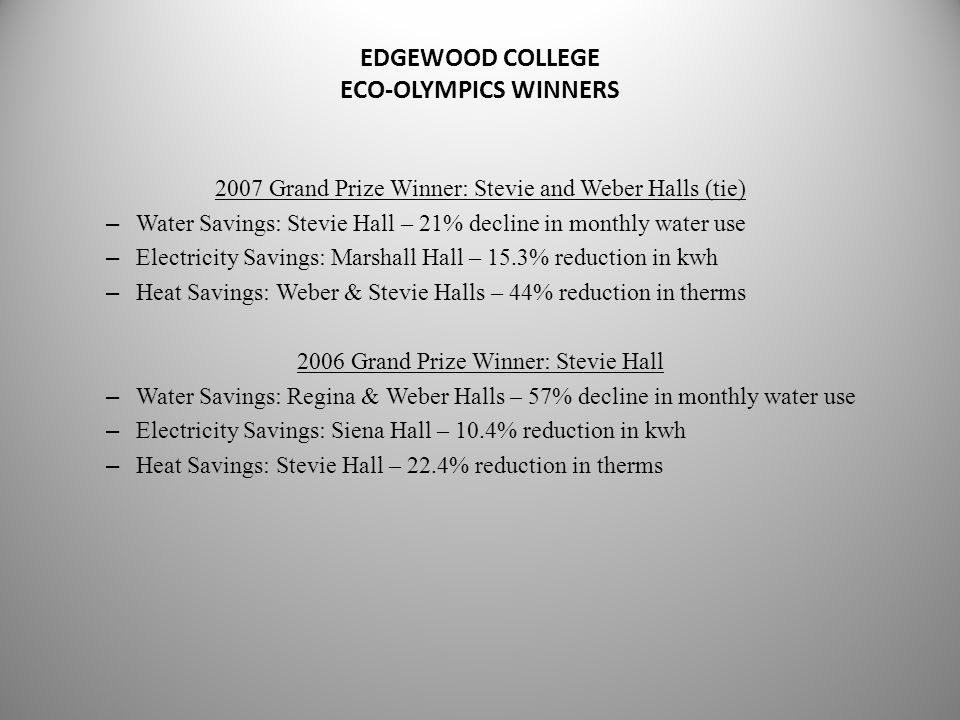 EDGEWOOD COLLEGE ECO-OLYMPICS WINNERS 2007 Grand Prize Winner: Stevie and Weber Halls (tie) – Water Savings: Stevie Hall – 21% decline in monthly water use – Electricity Savings: Marshall Hall – 15.3% reduction in kwh – Heat Savings: Weber & Stevie Halls – 44% reduction in therms 2006 Grand Prize Winner: Stevie Hall – Water Savings: Regina & Weber Halls – 57% decline in monthly water use – Electricity Savings: Siena Hall – 10.4% reduction in kwh – Heat Savings: Stevie Hall – 22.4% reduction in therms
