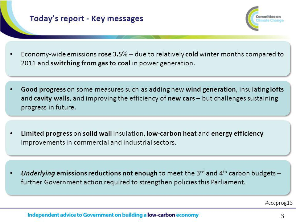 3 Todays report - Key messages Limited progress on solid wall insulation, low-carbon heat and energy efficiency improvements in commercial and industrial sectors.