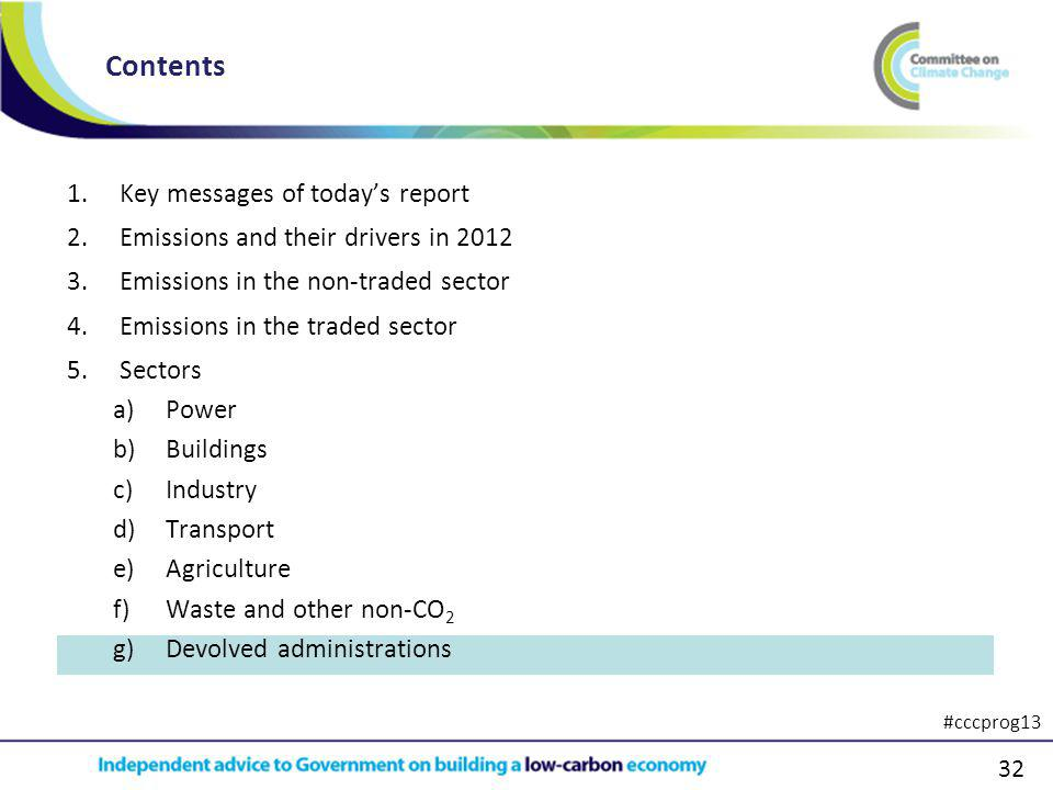 32 1.Key messages of todays report 2.Emissions and their drivers in 2012 3.Emissions in the non-traded sector 4.Emissions in the traded sector 5.Sectors a)Power b)Buildings c)Industry d)Transport e)Agriculture f)Waste and other non-CO 2 g)Devolved administrations Contents #cccprog13