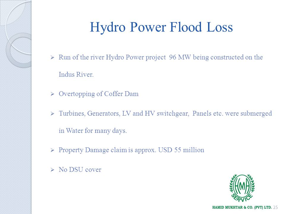 Hydro Power Flood Loss Run of the river Hydro Power project 96 MW being constructed on the Indus River.