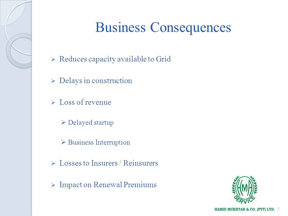 Business Consequences Reduces capacity available to Grid Delays in construction Loss of revenue Delayed startup Business Interruption Losses to Insurers / Reinsurers Impact on Renewal Premiums 7