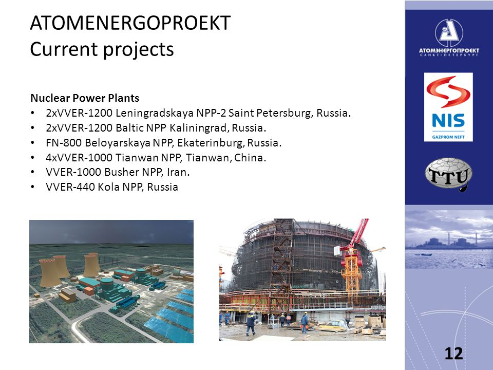 ATOMENERGOPROEKT Current projects Nuclear Power Plants 2xVVER-1200 Leningradskaya NPP-2 Saint Petersburg, Russia.