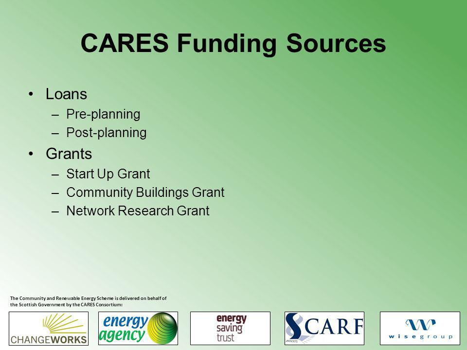 CARES Funding Sources Loans –Pre-planning –Post-planning Grants –Start Up Grant –Community Buildings Grant –Network Research Grant The Community and Renewable Energy Scheme is delivered on behalf of the Scottish Government by the CARES Consortium: