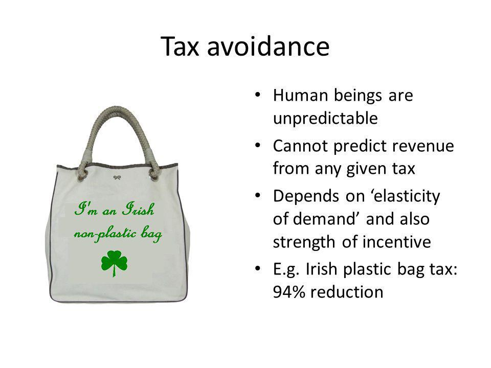 Tax avoidance Human beings are unpredictable Cannot predict revenue from any given tax Depends on elasticity of demand and also strength of incentive E.g.