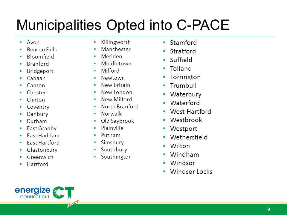 Municipalities Opted into C-PACE Avon Beacon Falls Bloomfield Branford Bridgeport Canaan Canton Chester Clinton Coventry Danbury Durham East Granby East Haddam East Hartford Glastonbury Greenwich Hartford West Hartford Bridgeport Norwalk Simsbury Stamford Stratford Southbury Stamford Stratford Suffield Tolland Torrington Trumbull Waterbury Waterford West Hartford Westbrook Westport Wethersfield Wilton Windham Windsor Windsor Locks Killingworth Manchester Meriden Middletown Milford Newtown New Britain New London New Milford North Branford Norwalk Old Saybrook Plainville Putnam Simsbury Southbury Southington 9