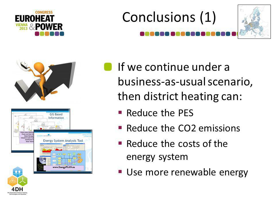 Conclusions (1) If we continue under a business-as-usual scenario, then district heating can: Reduce the PES Reduce the CO2 emissions Reduce the costs of the energy system Use more renewable energy