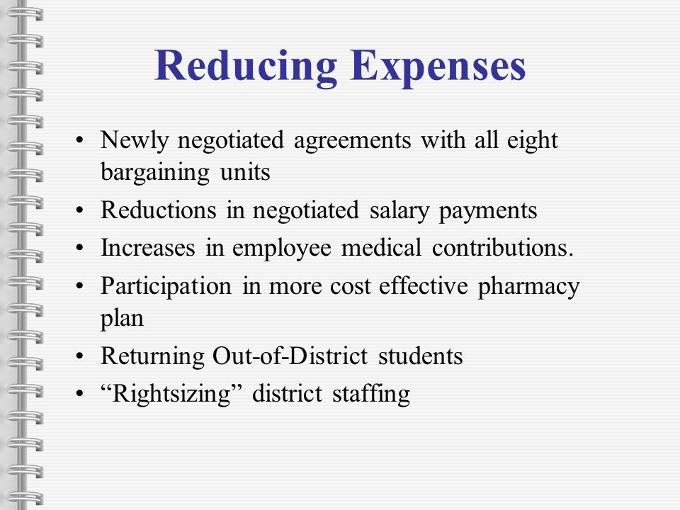 Reducing Expenses Newly negotiated agreements with all eight bargaining units Reductions in negotiated salary payments Increases in employee medical contributions.