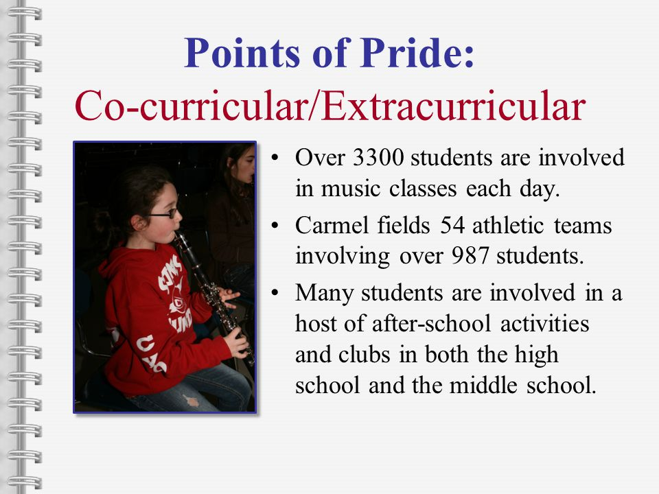 Points of Pride: Co-curricular/Extracurricular Over 3300 students are involved in music classes each day.