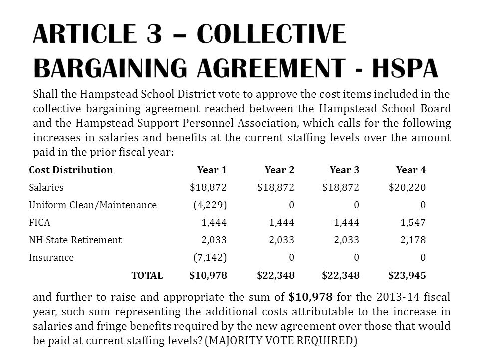 Shall the Hampstead School District vote to approve the cost items included in the collective bargaining agreement reached between the Hampstead School Board and the Hampstead Support Personnel Association, which calls for the following increases in salaries and benefits at the current staffing levels over the amount paid in the prior fiscal year: and further to raise and appropriate the sum of $10,978 for the 2013-14 fiscal year, such sum representing the additional costs attributable to the increase in salaries and fringe benefits required by the new agreement over those that would be paid at current staffing levels.