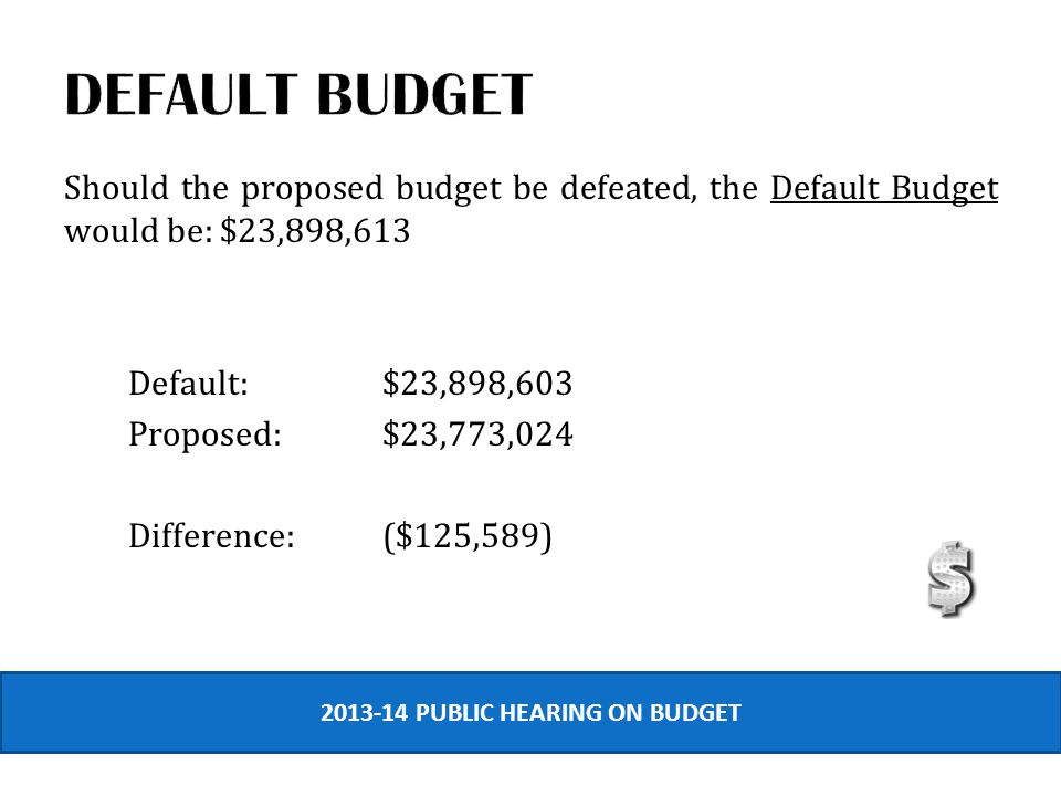 Should the proposed budget be defeated, the Default Budget would be: $23,898,613 Default:$23,898,603 Proposed:$23,773,024 Difference:($125,589) 2013-14 PUBLIC HEARING ON BUDGET