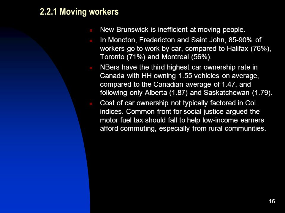 2.2.1 Moving workers New Brunswick is inefficient at moving people.