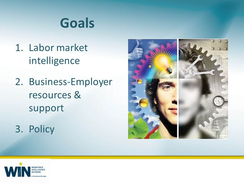 Goals 1.Labor market intelligence 2.Business-Employer resources & support 3.Policy