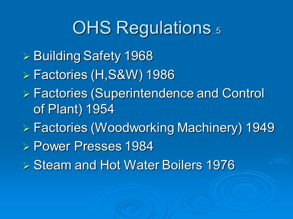 Building Safety 1968 Building Safety 1968 Factories (H,S&W) 1986 Factories (H,S&W) 1986 Factories (Superintendence and Control of Plant) 1954 Factories (Superintendence and Control of Plant) 1954 Factories (Woodworking Machinery) 1949 Factories (Woodworking Machinery) 1949 Power Presses 1984 Power Presses 1984 Steam and Hot Water Boilers 1976 Steam and Hot Water Boilers 1976 OHS Regulations..5