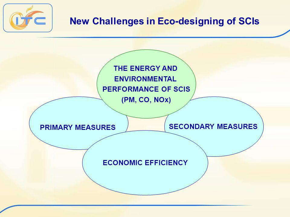 SECONDARY MEASURES New Challenges in Eco-designing of SCIs PRIMARY MEASURES THE ENERGY AND ENVIRONMENTAL PERFORMANCE OF SCIS (PM, CO, NOx) ECONOMIC EFFICIENCY